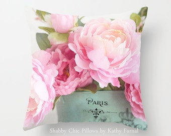 Peonies Pillow Case Cover, Shabby Chic Pink Aqua Paris Peonies Pillow Cover, Cottage Pillow Home Decor, Pink Peonies Decorative Pillow Cover