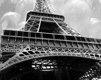 CLEARANCE SALE Paris Photography, Eiffel Tower Prints, Black White Photography, Paris Prints, Eiffel Tower Hearts Balloons Fantasy Photos