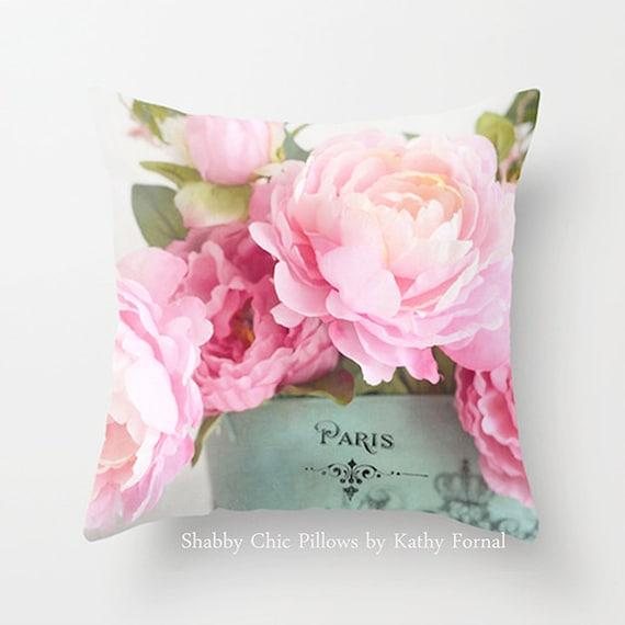 Peonies Pillow Case Cover Shabby Chic Pink Aqua Paris Peonies