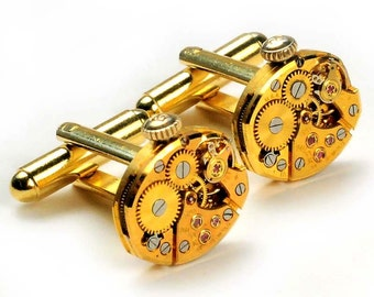 Steampunk Vintage Gold Bulova Watch Movement Cuff Links