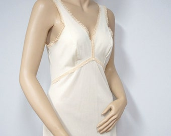 Vintage Slip Dress Nightgown Beige Silky 1950's 1960's Wonder Maid Size 34