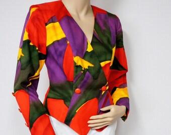 1980's Jacket Vintage Jacket Colorful Jacket Fitted Cropped Bolero Red Artist Splash Color Blouse Vintage Blazer Size Small