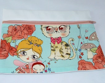 CLUTCH - Wide Eyed Fairy (Pleather/ Cotton) **handmade**Kindle**iPad mini** Case**