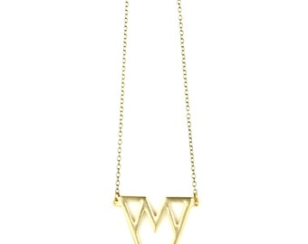 Lux Geometric Necklace - Gold Geometric Pendant on a Brass Chain