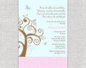 Birdie Baby Shower Invitation with Tree Butterflies light blue pink girl shower invites invitations