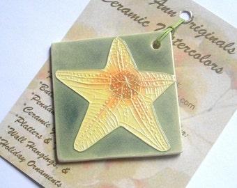 STARFISH ornament handmade ceramic marine ocean creature sea green watercolor yellow orange gift idea under 25 carved by Faith Ann Originals