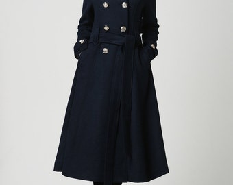 Overcoat,Blue coat, Wool Coat, Womens coats ,Winter Coat,Military Coat,Wool Jacket,Long Wool Coat, double breasted coat,trench coat (1114)