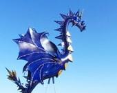 Blue Gold Dragon Flamingo Incognito a handmade garden yard art sculpture up-cycled flamingo home decor