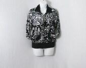 HELD for Angeliac: Black & White Vintage Oleg Cassini Abstract Valour Jacket Top SM