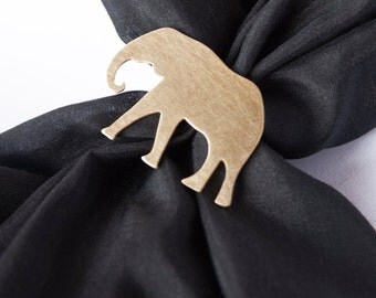 Hand Made Brass Elephant Good Luck Scarf Ring Golden Color Gift Present Scarf Foulard Accessories