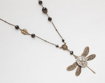 Steampunk Necklace vintage silver watch movement gold dragonfly flower leaf filigree black crystal Victorian pendant Steampunk Jewelry