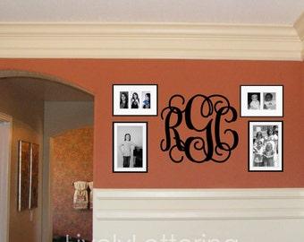 custom monogram wall decal wall initials cursive letters nursery monogram vinyl lettering w00931