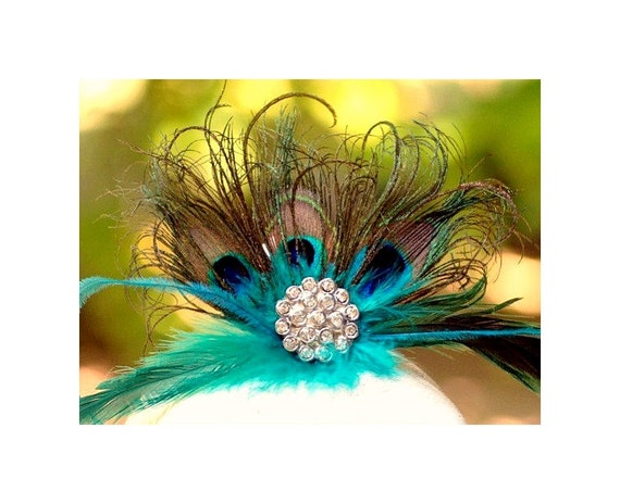 Statement Teal & Peacock Fan Fascinator COMB. Couture Bride Bridal Bridesmaid, Sophisticated Wedding Birthday Gift, Coque Iridescent Feather