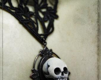 choker - victorian, anatomy, skull, wearable art, vanitas still life, skull, handpainted, gothic, mourning, momento mori, victorian, ooak