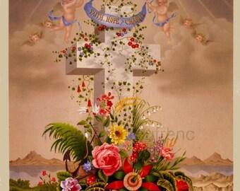 vintage illustration catholic cross roses angel lithograph faith hope charity digital download prayer card
