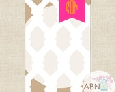 Personalized Notepad - Monogram Notepad in Tan & Hot Pink - IKAT Collection - By A Blissful Nest