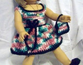 For 18 inch dolls:  four-piece crochet set in rambling rose and forest green; dress, bag, shoes