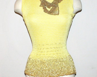 GIANNI VERSACE Vintage Crochet Tank Yellow Gold Sequins Beaded Sleeveless Sweater - AUTHENTIC -