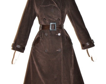 Vintage PIERRE CARDIN CREATION Trench Coat Mod Brown Corduroy Patent Leather Jacket