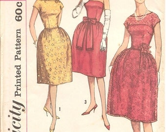 1960s Strapless or Lace Cocktail Dress Pattern - Vintage Simplicity 3640 - Bust 31 1/2