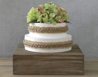 "22"" Wedding Rustic Cake Stand StandCountry Wooden Grooms Cake Wedding Decor Display E. Isabella Designs Featured In Martha Stewart Weddings"