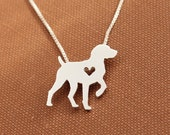 German Shorthaired Pointer necklace, sterling silver hand cut pendant with heart, tiny dog breed jewelry