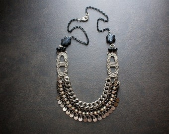 Black Rhinestone Vintage Assemblage Bib Necklace with Carved Agate Beads and Silver Disc Dangles