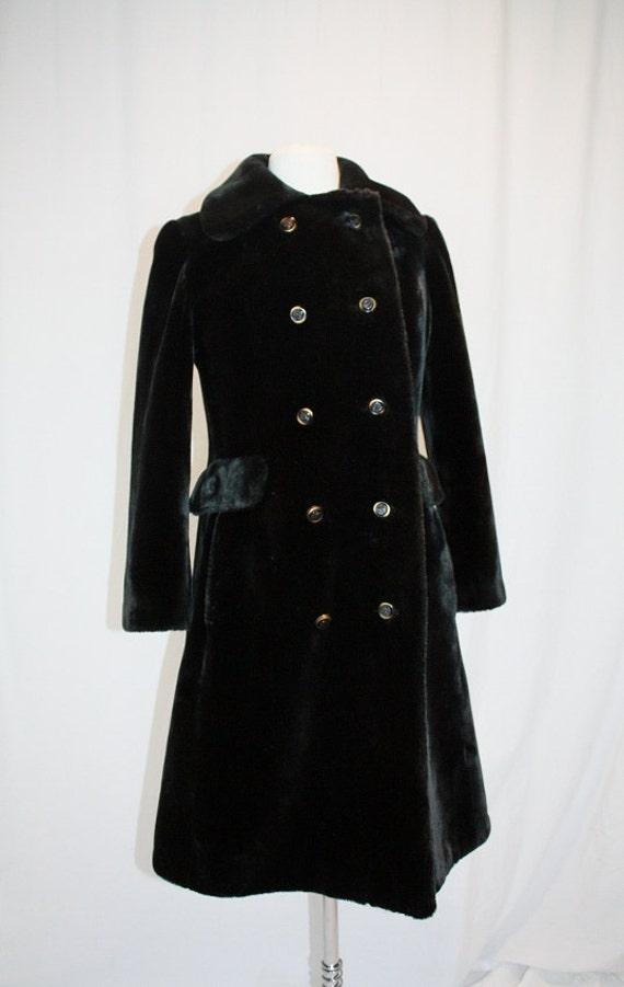 1960's Coat Borgazia Faux Fur Dark Brown Teddy Bear Size