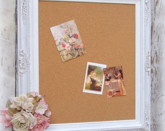 "WHITE FRAME CORK BoARD For Sale 31""x27"" Baroque New Home Gift Modern Home Office Organizer Decorative Cork board Corkboard Unique Memo Board"