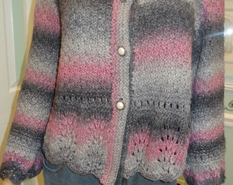 LADIES KNIT SWEATER : Designer Knit  style Sweater , size medium, variegated,sparkling, worsted weight yarn, charcoal, grey and pink
