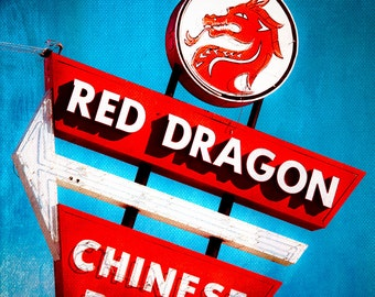 Fine Art Photography, Restaurant Sign, Chinese Restaurant, Neon Sign, Wall Decor, Asian Art,Fort Worth Texas, Food Photography,Kitchen Decor