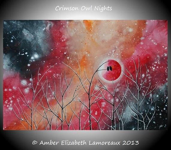Fine Art Giclee Print of Original Painting Crimson Owl Nights Amber Elizabeth Lamoreaux Orange Red Starry Night Trees Owls Love Art