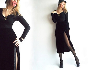 MAXiMUM VELVETness Vtg Maxi Skirt Designer Ann Taylor In Luxurious Black Silk Blend Velvet by Ann Taylor Size XS or S