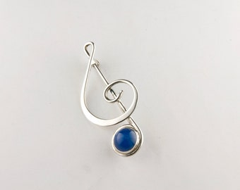 Treble Clef Sterling Silver Pin