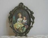 Vintage Baroque Brass Picture Frame With Children Portrait, Ornate Victorian Girl Boy Oval Wall Art Print, Fleur de Lis, Paris Apartment