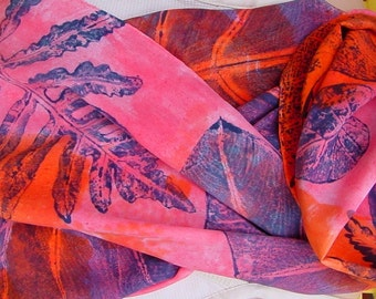 Silk Scarf crepe large Bold Tropical orange pink unique philodendron fern