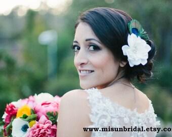 Bridal PEACOCK WEDDING hair clip / ivory hair flower / white hair flower / bridal flower clip / peacock feather clip