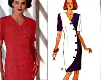 90s Designer Kathryn Conover Sheath Dress with Curved Front Shaping  BUTTERICK 6033  UNCUT, Factory-Folded