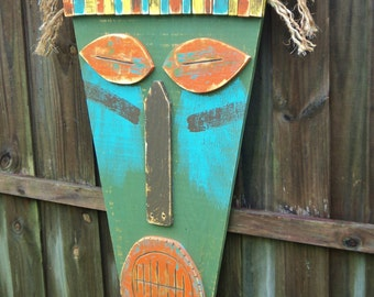 Large 4' Tiki Mask, Tropical Island Wall Hanging, Tiki Man, Wood Sculpture, Beach House Decor, Tiki Bar