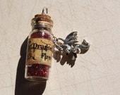 Dragon Fire potion vial necklace