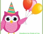 Birthday Owl with Balloons