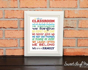 "DIGITAL FILE - In this Classroom We... - Instant Download - Perfect Teacher Gift - Primary Colors - Print in 8x10"", 11x14"" or 16x20"""