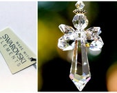 """m/w Swarovski 2"""" Crystal Double Winged - Guardian Angel In Flight - Suncatcher Car Charm Ornament, Includes an Elements Tag for Authenticity"""