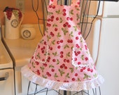 Toddler Little Girl's Vintage Style Full Apron in Pink with Cherries