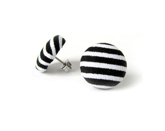 Black white stud earrings - button earrings - small fabric earrings - stripes yin yang