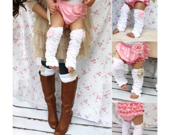 Easter Spring Baby Girl Chiffon Rose Ruffle Leg Warmers. Boot Socks Cuffs. Baby's 1st Birthday Outfit Gift Mommy and Me Matching Gift