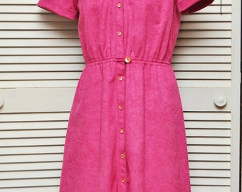 Vintage Womens 70s Shirt Dress/Hot Pink Ultra Suede/Germaine/Daywear Medium 10/Preppy Secretary College Girl/Polyester/Juniors Fuschia