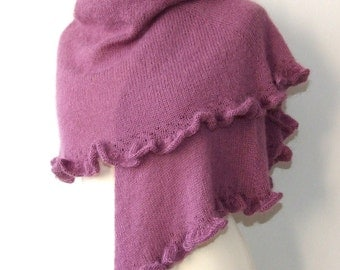 cozy purple shawl with ruffle and beads, handknit mohair wrap