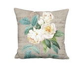 Blushing White Rose Pillow - French Country Rustic Grain Sack Style White Shabby Rose 12x 14x 16x 18x 20x 22x 24x Inch Linen Pillow Cover