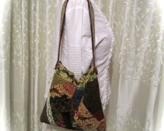 Small Patchwork Bag, hippie bag, crazy quilt granny bag, earth friendly recycled handmade fabric bag